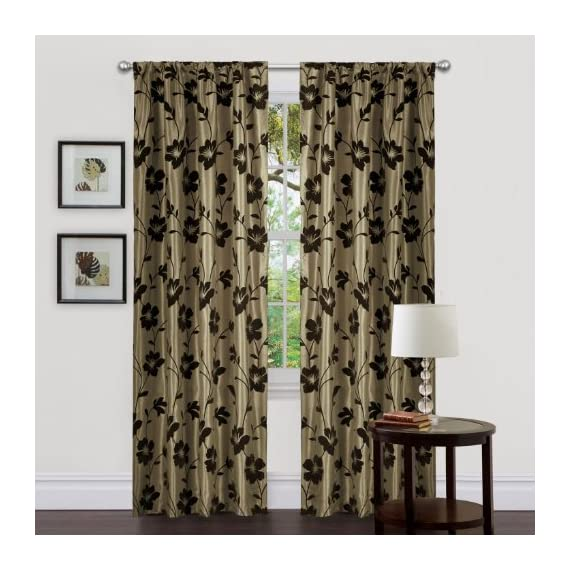 Lush Decor Triangle Home Fashions 18771 84-Inch Garden Blossom Curtain, Green/Brown, Panels - Includes: 2 panels, 2 tiebacks Panel: 40-inch w by 84-inch d Care; dry clean - living-room-soft-furnishings, living-room, draperies-curtains-shades - 51pPgAi oFL. SS570  -