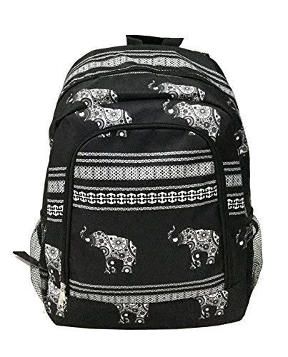 (NBN-Ele-BW Fashion PEVA Lining Insulate Lunch Bag Black white Elephant Pattern)