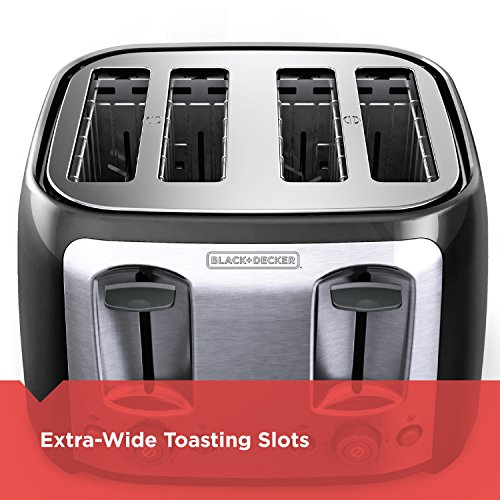 BLACK+DECKER 4-Slice Toaster, Classic Oval, Black with Stainless Steel Accents, TR1478BD by BLACK+DECKER (Image #2)