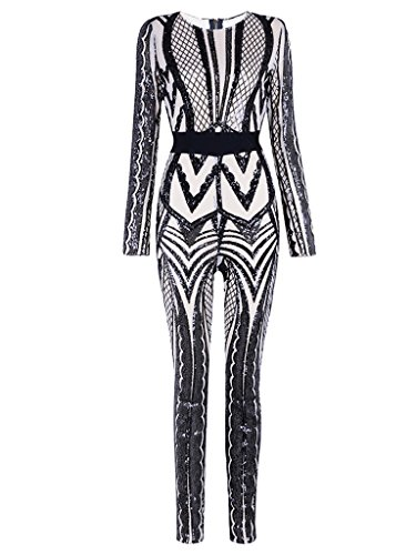 Tina Beauty Sexy Nude Mesh Black Sequins Zip Back Long Sleeve Jumpsuits Large ()