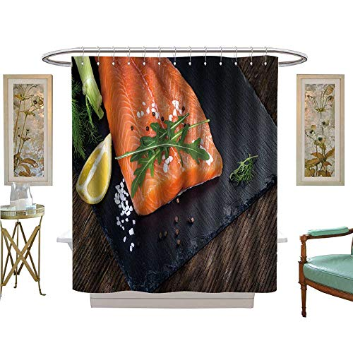 (luvoluxhome Shower Curtains Fabric Extra Long Salmon Filet with Lime Salt Pepper rucoli Fennel and Rosemary Fabric Bathroom Set with Hooks W54 x L78)