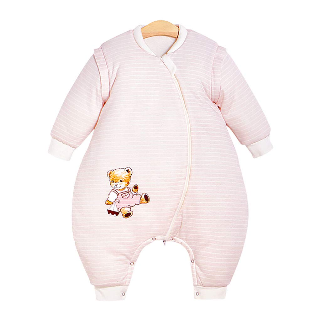 HUYP 赤ちゃん寝袋分割脚脚冬の女の子子供のアンチキックは肥厚秋ユニセックス男の子 (色 : Pink thickened, サイズ さいず : 90 yards) 90 yards Pink thickened B07P53QBYV