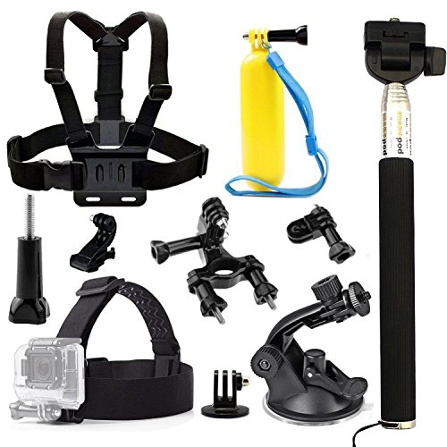 TEKCAM 6 in 1 Accessory Kits for Gopro Hero 6/APEMAN/AKASO EK7000/Crosstour Waterproof Sports Action Camera Head Strap Chest Harness Car Suction Cup Mount Floating Handle Grip Bike Handlebar Mount by TEKCAM