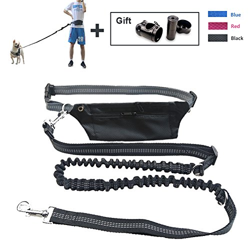 MS KeKe Hands Free Dog Leash with Waist Pouch and Adjustable Running Belt, and Free Poop Bag with Dispenser (Black)