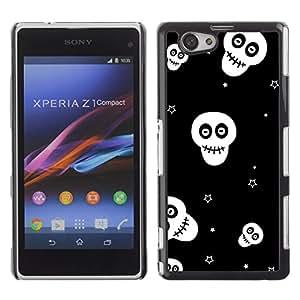 KOKO CASE / Sony Xperia Z1 Compact D5503 / cráneos protagoniza wallpaper negro sonriente / Delgado Negro Plástico caso cubierta Shell Armor Funda Case Cover