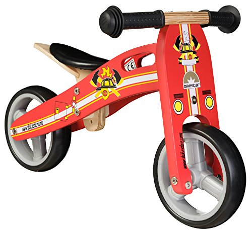 BIKESTAR® Original Safety Wooden Lightweight Kids First Balance Running Bike with air tires for age 18 months old boys and girls | 7 Inch Edition | Firefighter Red