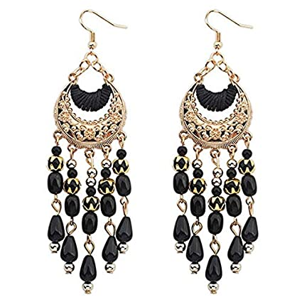 BaZhaHei Tassels Earrings Beads Ear Drops Women Charm Bohemian Colorful Handmade Vintage Hoop Earrings Crystal Rhinestone Round-Shaped Ear Stud Earrings Pendant Pearl Earrings Evening Party