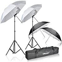 Emart Photo Studio Double Off Camera Speedlight Flash Umbrella Kit, Shoemount E-Type Brackets for Photography