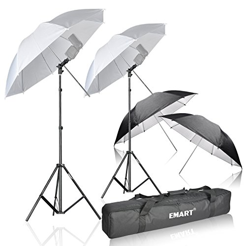 Emart Photo Studio Double Off Camera Speedlight Flash Umbrella Kit, Shoemount E-Type Brackets for (Studio Flash Kit)