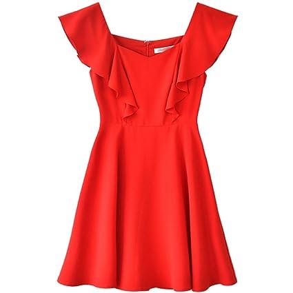 pretty nice 2e05e bd221 YaNanHome Vestito Rosso Abito Estivo Nuovo Stile Romantico ...
