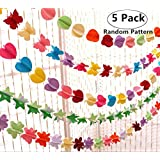 5 Pack 3D Rainbow Paper Garlands, Magnoloran Banners Ornaments Backdrop Hanging Decorations for Wedding Birthday Baby Shower Christmas Holiday Photo Booth Props (Star, Flower, Butterfly, Heart and Round Shape)
