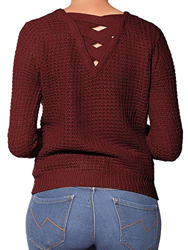 (Design by Olivia Women's Criss Cross Braided Back Solid Cable Knit Pullover Sweater Top Burgundy L)