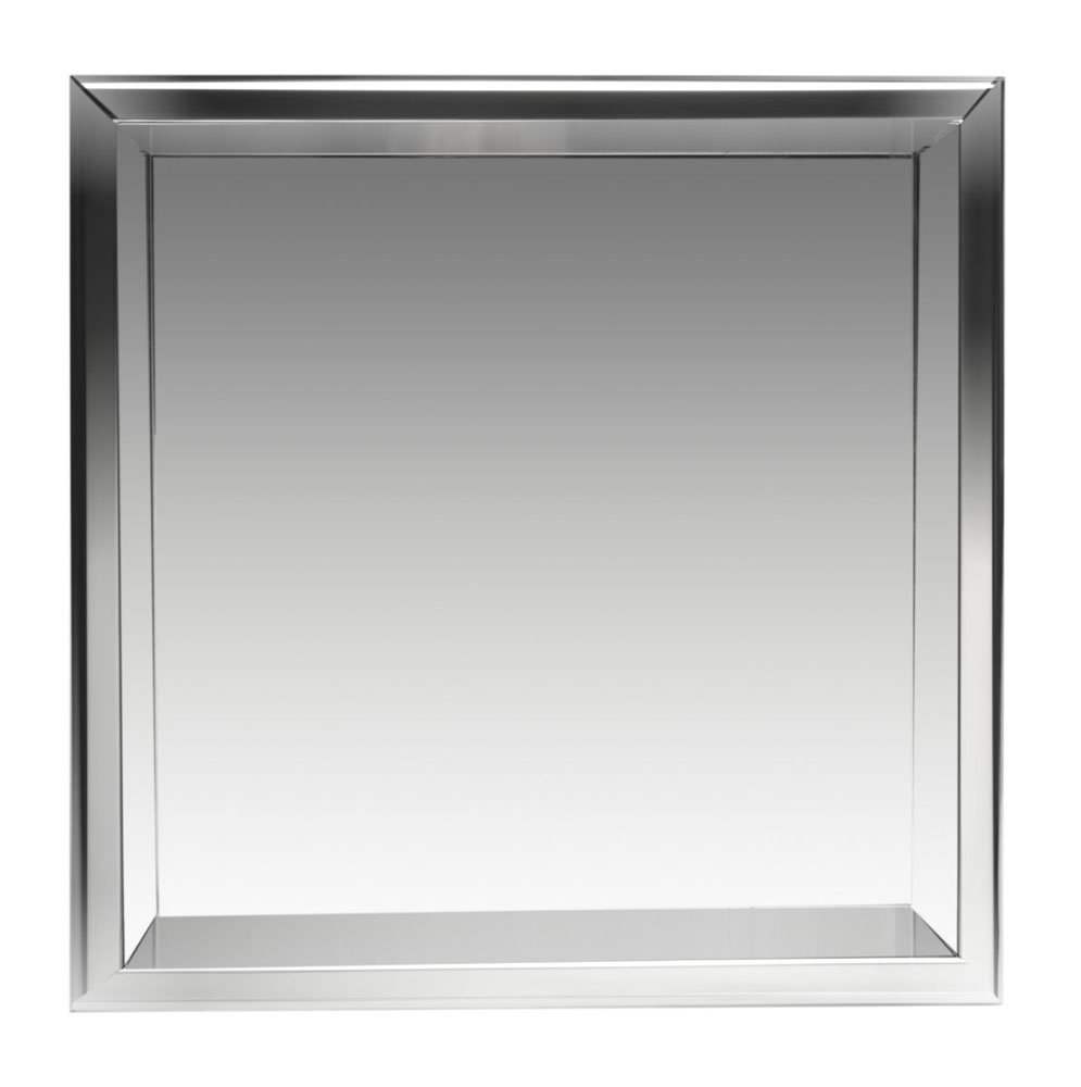 "Alfi Brand 16"" x 16"" Polished Stainless Steel Finish Square Single Shelf Bath Shower Niche - Gray"