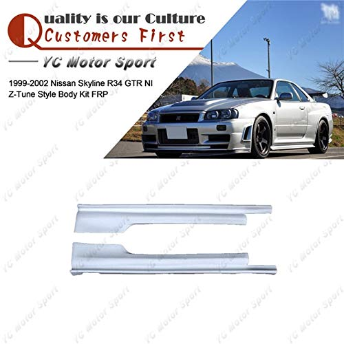- BEESCLOVER Car Accessories FRP Fiber Glass NI Z-T Style Side Skirts Fit for 1999-2002 Skyline R34 GTR Side Skirt Cover Black