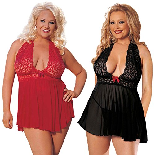 LOVELYBOBO 2 Pack Women Plus Size Sexy Lingerie Vintage Lace Sparkly Sequin Transparent Babydoll Sleepwear (Black+Red)