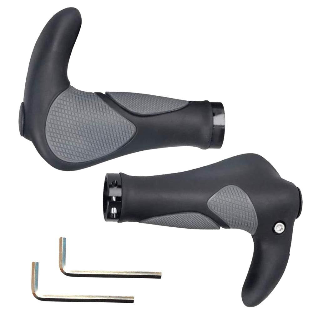 Mango para Bicicleta, 2PCS Puños para Bicicleta de Montaña Con Cuernos Antideslizante para Bicicleta, Moto, Plegable Bicicleta (22mm)
