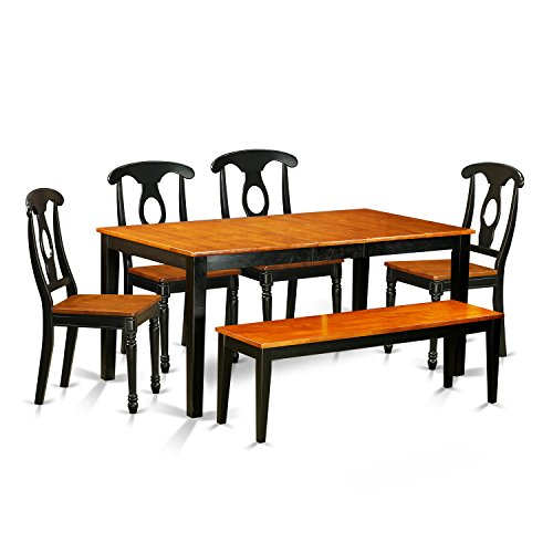 East West Furniture NIKE6-BCH-W 6 Piece Dining Table and 6 Chairs Set plus one Bench