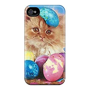 WonderTree Design High Quality A Easter Kitten With Color Eggs Cover Case With Excellent Style For Iphone 4/4s