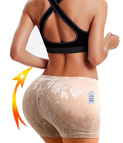 Sexy Fullness Butt Lifter Boyshort Tummy Control Panties Butt Enhancer Shaper (XL, Beige(Hip Abundant))
