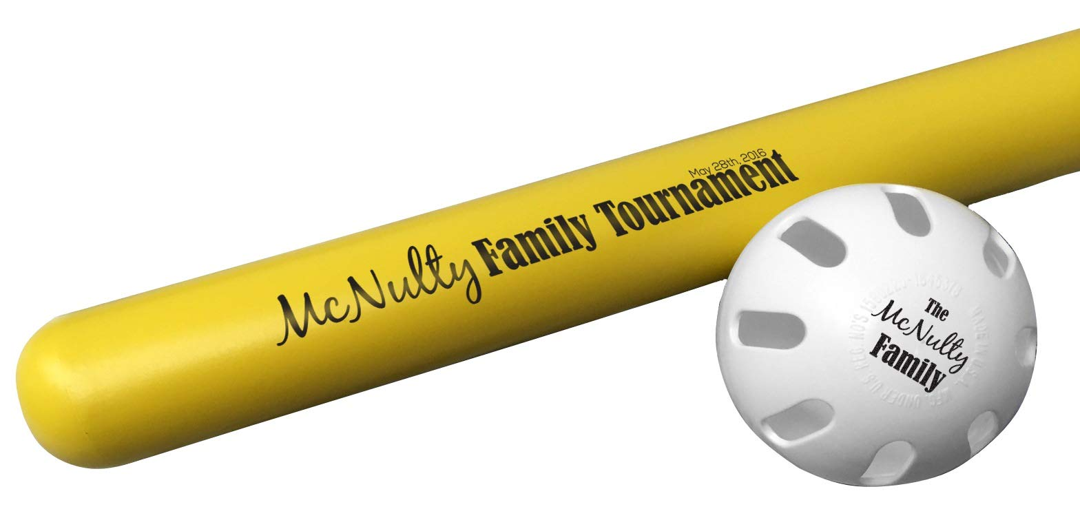 Tiger Tail Sports Personalized Wiffle Bat & Ball Combo Gift (Family Tournament) by Tiger Tail Sports