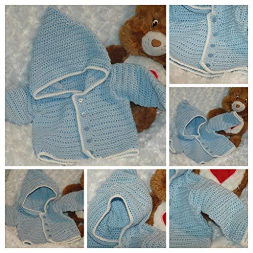0-3 mth Handmade Crocheted Blue & White Hooded Baby Sweater