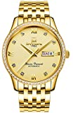 Men's Analog Luminous and Bezel Inlay Rhinestones Fashion Business Automatic Mechanical Calendar Watch (All Gold Color)