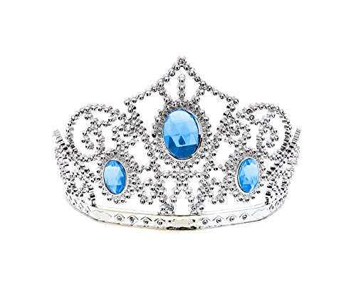 Cutie Collection Girls Silver Blue Rhinestone Embellished Tiara - Princess, Dress up, Costume (Set of 4) - Item #S110068_X4 -