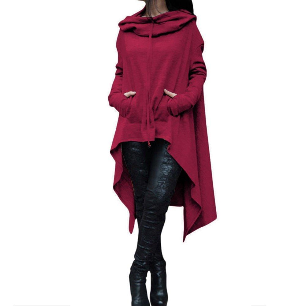 DraFenn Women Long Sleeve Sweatshirts Ladies Hoodies Fashion Big Pocket Pullover Casual Loose Tops Wine L