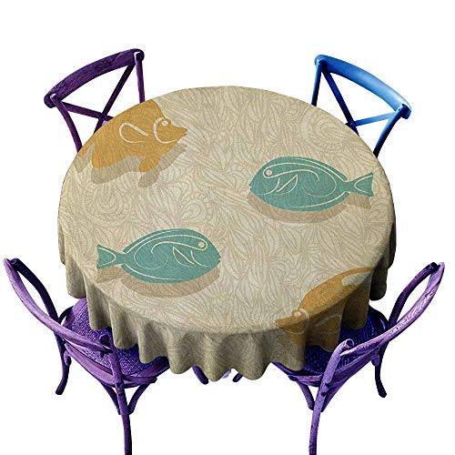 ONECUTE Water Resistant Table Cloth,Fish and Wave Aquarium Marine Ocean Themed Fishing Theme Vintage Stylized,Stain Resistant, Washable,43 INCH Orange Sand Brown Seafoam ()