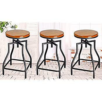 EHemco 24 29u0027u0027 Adjustable Swivel Metal Barstool With Wood Veneer ...