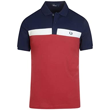 ff8751da9a5 Amazon.com: Fred Perry Men's Contrast Panel Polo Shirt M5577 A25 Red:  Clothing