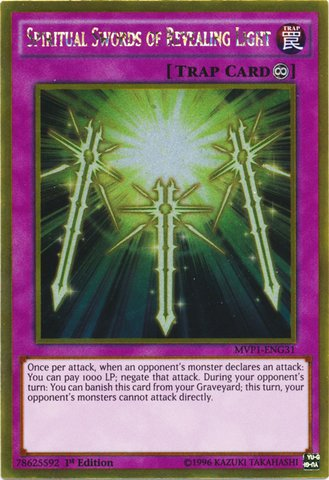 Yu-Gi-Oh! - Spiritual Swords of Revealing Light (MVP1-ENG31) - The Dark Side of Dimensions Movie Pack Gold Edition - 1st Edition - Gold Rare - Magician Sword