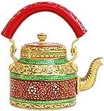 Craftkriti Decorative Indian Hand Painted Aluminium Tea Kettle -Colorful, Quirky,Funky&Designer Naari Shakti Tea Pot Home Decor -Can Be Used As Showpiece, Dinnerware Kitchenware Home Décor