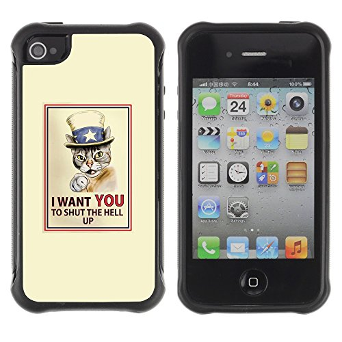 Apple Iphone 4 / 4S - Cat Quote Art Poster Drawing Shorthair - Rugged Armor Slim Protection Case Cover Shell