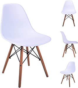 H JINHUI Modern Accent Side Dining Chairs, Classic Molded Plastic Chair with Solid Wood Legs for Kitchen, Dining Room, Living Room, Set of 4