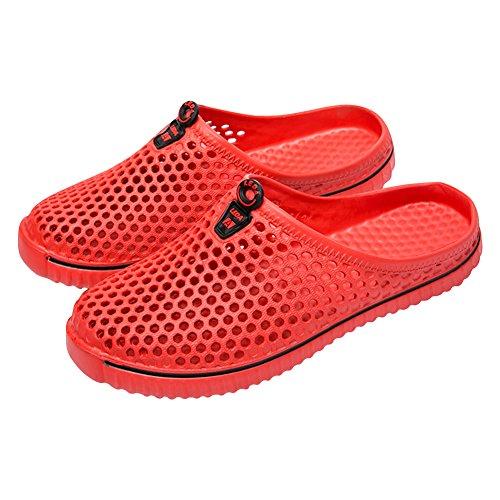 Padgene Unisex Garden Clogs Shoes Slip-on Quick-Drying Summer Lightweight Walking Sandal Slippers (US 6.5-7 B(M), Red)