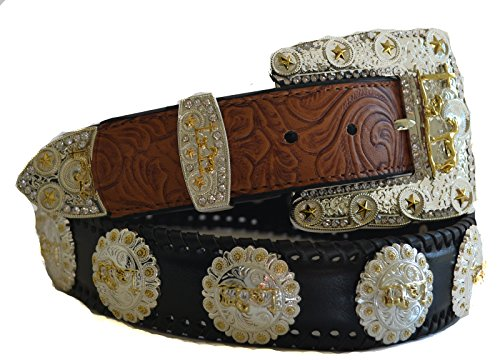 [Black praying cross gold berry concho buckle leather belt M L XL (L, Black)] (Gold Concho Belt)
