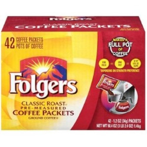 Folgers Classic Roast Coffee Packets, 42-Count