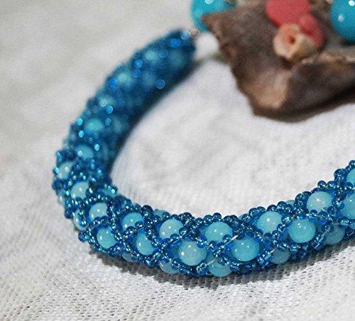 Seed bead bracelet, tubular netted bracelet, blue bracelet, tubular bracelet, blue tubular bracelet, glass beads bracelet,