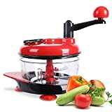 Manual Hand Crank Food Chopper, Hand-Powered Salad Spinner,Meat Grinder,Quick Chopper & Blender & Mincers with Stainless Steel Blades