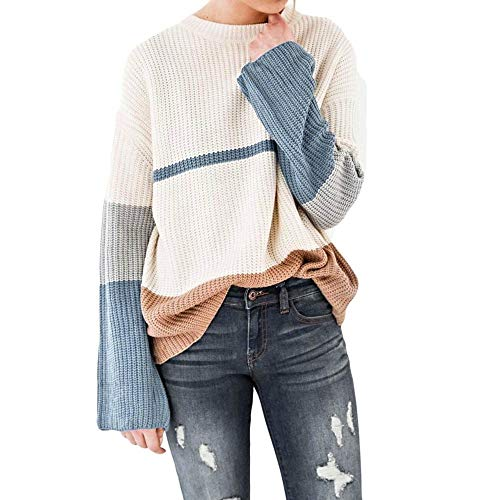 - Sdoo Women Sweater, Women's Round Neck Long Sleeve Striped Printed Sweater (X-Large)