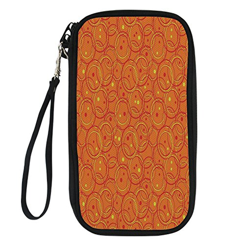 iPrint Burnt Orange,Circle Patterns in Fashion Trend Colors on Retro Dotted Background Decorative,Orange Yellow for Women Canvas Document Organizer Clutch
