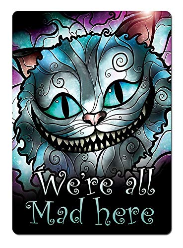 at Stained Glass All Mad Here Metal Wall Sign Plaque Art Inspirational ()