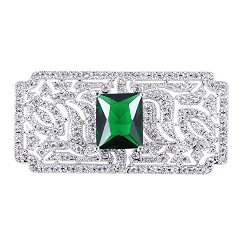 (GULICX Mother's Gift Vintage Style Art Deco Zircon Wedding Brooch Pin Green Silver Plated Base)
