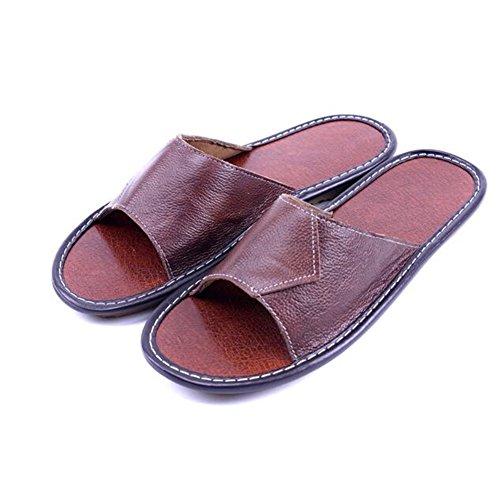 Caf¨¦ TELLW Smelly Corium Women for Autumn Spring Anti Men M Wooden Leather Slippers Cowhide Summer Floor 0HZwnqrxZ