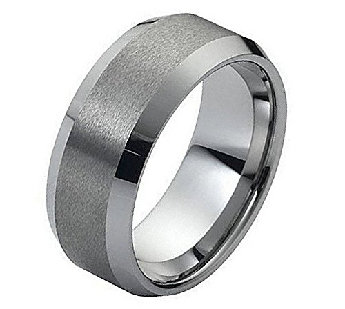 Tungsten Hers Satin (Tungsten Carbide 8mm Wedding band Ring For Him Or Her polished beveled edge and the satin finish center)
