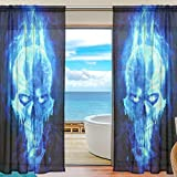 """SAVSV Window Sheer Curtains Panels Window Treatment Set Voile Drapes Tulle Curtains Burning Blue Skull 55"""" W x 78"""" L 2 Panels For Living Room Bedroom Girl's Room"""