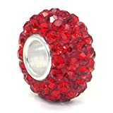 Metal Factory (1 Pc) Red Crystal Ball Bead Sterling Silver Charm