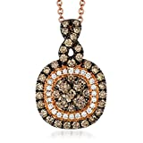 LeVian 14K Rose Gold Double Halo Pendant Featuring Clustered Chocolate & Vanilla Diamonds