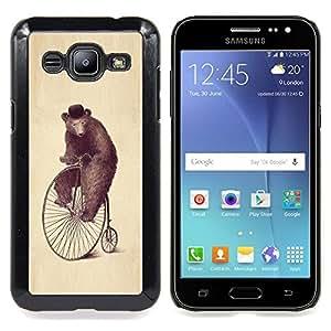 """Qstar Arte & diseño plástico duro Fundas Cover Cubre Hard Case Cover para Samsung Galaxy J2 / J200 (Arte Oso Rueda Dibujo Acuarela Lápiz Sombrero"""")"""